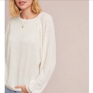 Anthropologie Pleione Cream Waffle knit Nordic M
